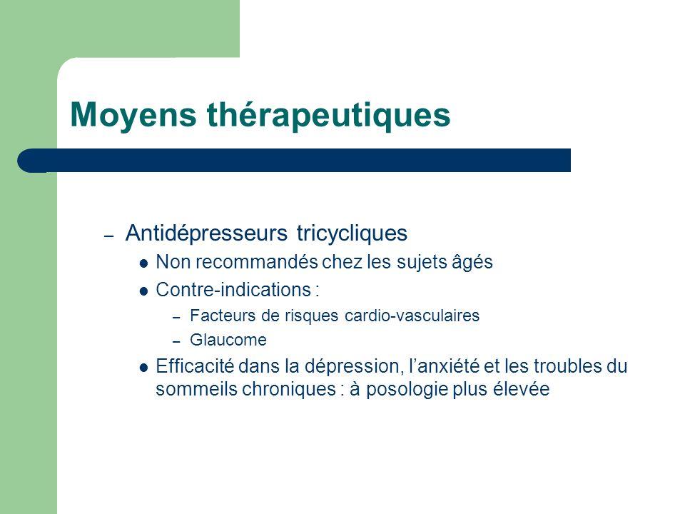 Moyens thérapeutiques – Antidépresseurs tricycliques Non recommandés chez les sujets âgés Contre-indications : – Facteurs de risques cardio-vasculaire