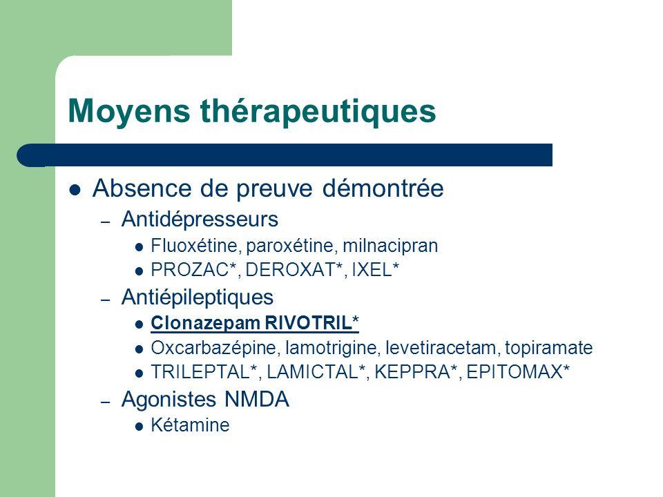 Moyens thérapeutiques Absence de preuve démontrée – Antidépresseurs Fluoxétine, paroxétine, milnacipran PROZAC*, DEROXAT*, IXEL* – Antiépileptiques Cl
