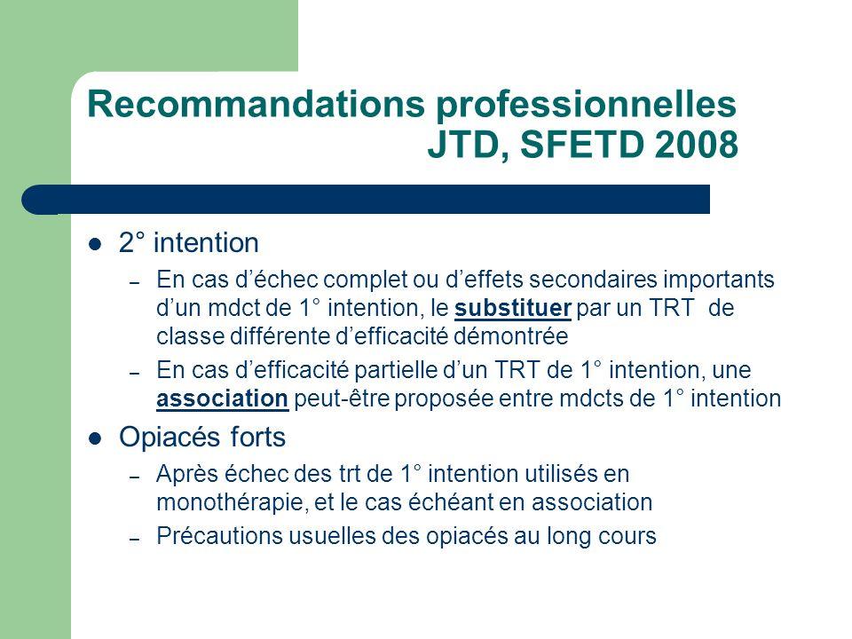 Recommandations professionnelles JTD, SFETD 2008 2° intention – En cas déchec complet ou deffets secondaires importants dun mdct de 1° intention, le s