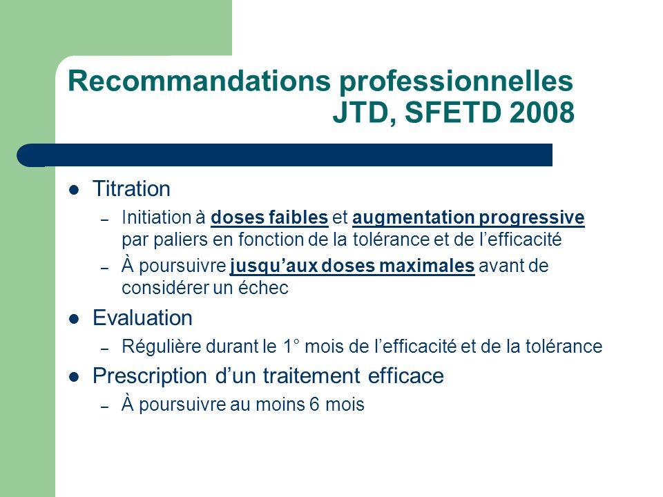 Recommandations professionnelles JTD, SFETD 2008 Titration – Initiation à doses faibles et augmentation progressive par paliers en fonction de la tolé