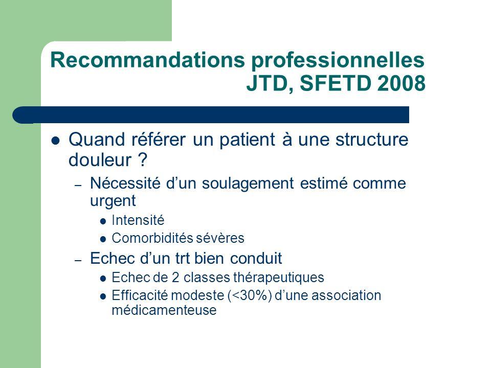 Recommandations professionnelles JTD, SFETD 2008 Quand référer un patient à une structure douleur ? – Nécessité dun soulagement estimé comme urgent In