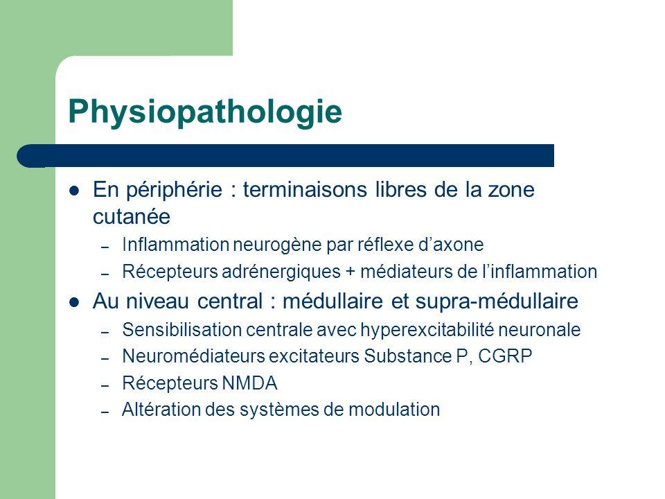 Physiopathologie En périphérie : terminaisons libres de la zone cutanée – Inflammation neurogène par réflexe daxone – Récepteurs adrénergiques + média