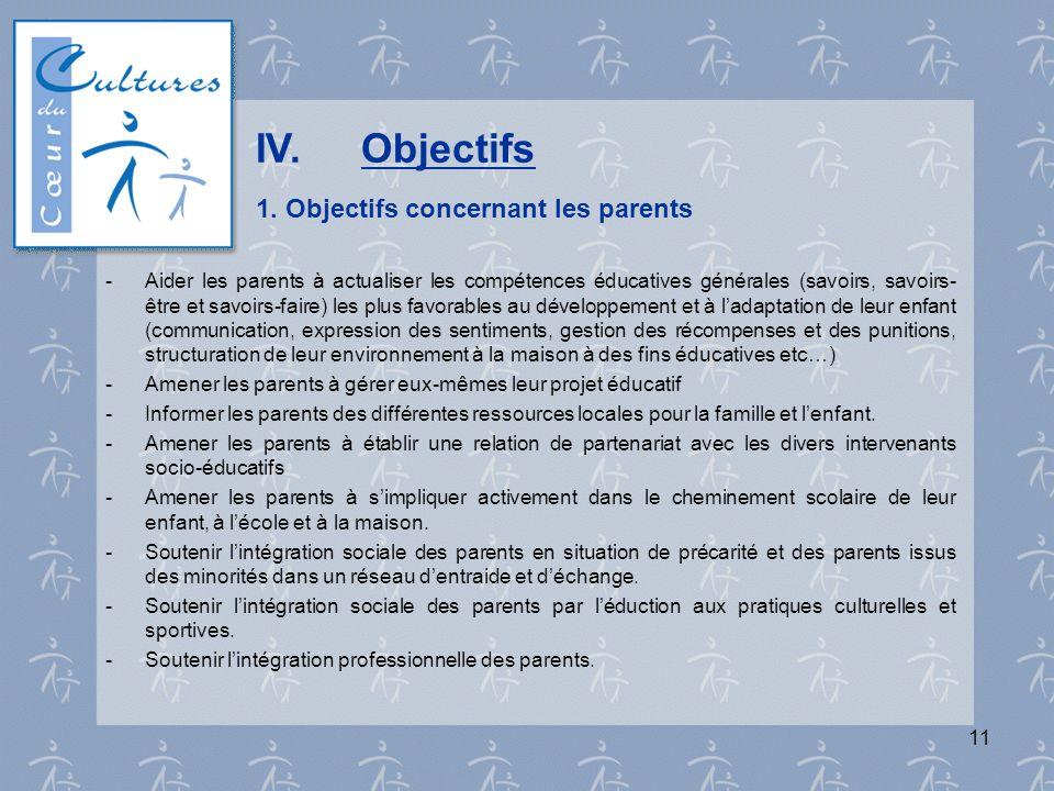 11 IV.Objectifs 1. Objectifs concernant les parents - Aider les parents à actualiser les compétences éducatives générales (savoirs, savoirs- être et s