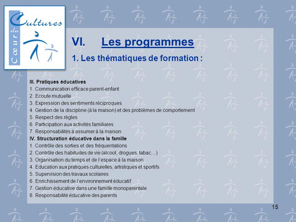 15 VI.Les programmes 1. Les thématiques de formation : III. Pratiques éducatives 1. Communication efficace parent-enfant 2. Ecoute mutuelle 3. Express