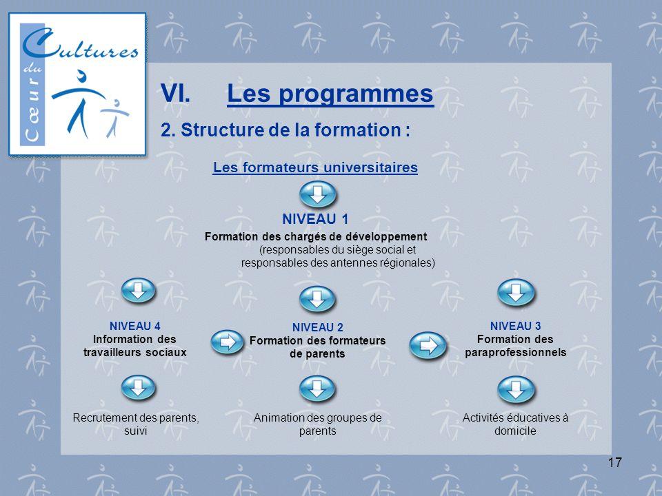 17 VI.Les programmes 2. Structure de la formation : Les formateurs universitaires NIVEAU 1 Formation des chargés de développement (responsables du siè
