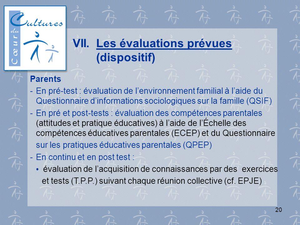 20 VII.Les évaluations prévues (dispositif) Parents - En pré-test : évaluation de lenvironnement familial à laide du Questionnaire dinformations socio