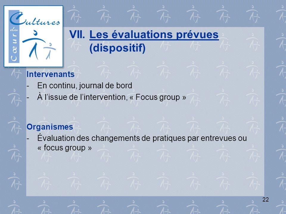 22 VII.Les évaluations prévues (dispositif) Intervenants - En continu, journal de bord - À lissue de lintervention, « Focus group » Organismes - Évalu