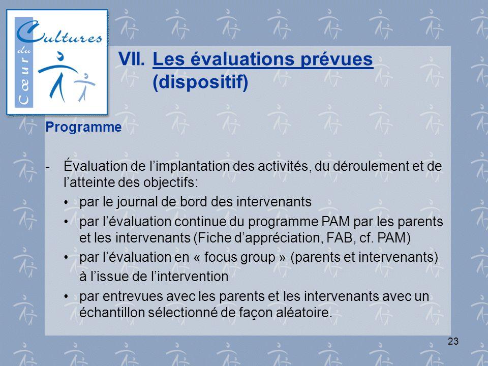 23 VII.Les évaluations prévues (dispositif) Programme - Évaluation de limplantation des activités, du déroulement et de latteinte des objectifs: par l