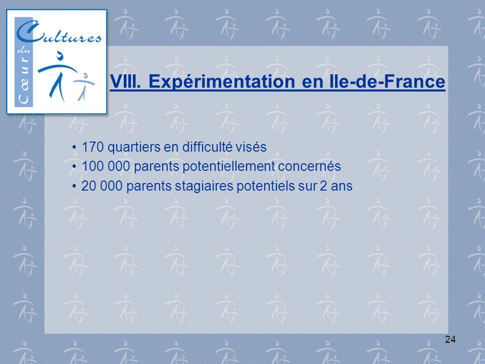 24 VIII. Expérimentation en Ile-de-France 170 quartiers en difficulté visés 100 000 parents potentiellement concernés 20 000 parents stagiaires potent