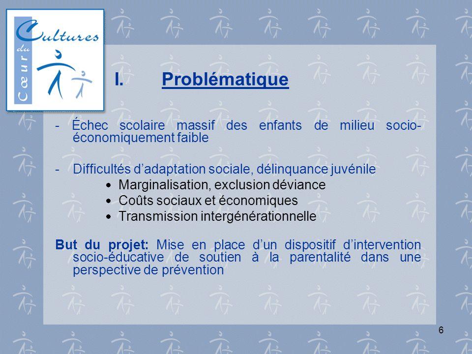 6 I.Problématique - Échec scolaire massif des enfants de milieu socio- économiquement faible - Difficultés dadaptation sociale, délinquance juvénile M