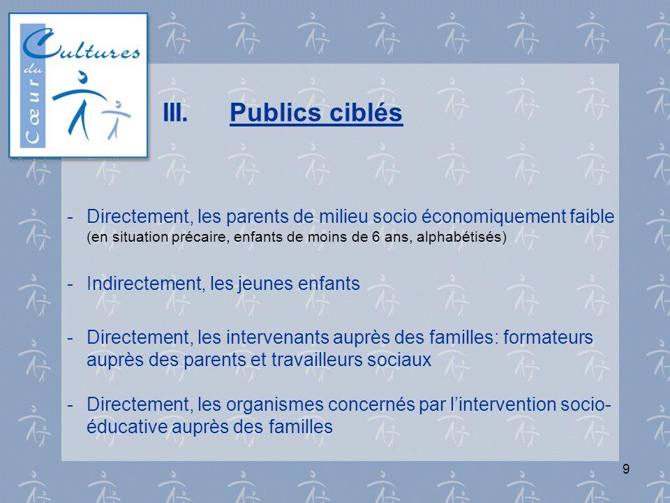 9 III.Publics ciblés - Directement, les parents de milieu socio économiquement faible (en situation précaire, enfants de moins de 6 ans, alphabétisés)