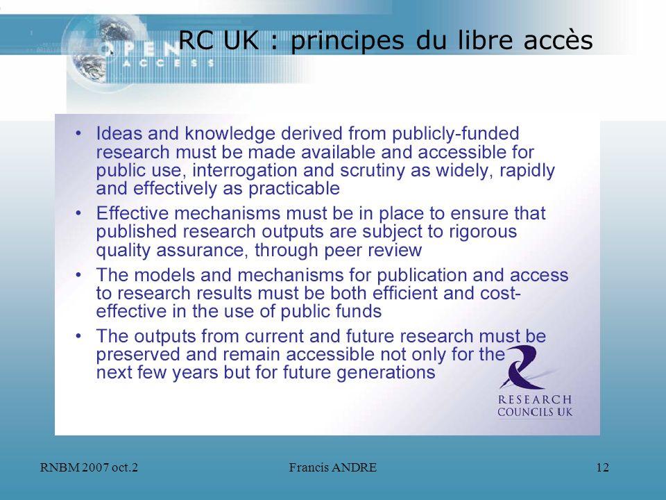 RNBM 2007 oct.2Francis ANDRE12 RC UK : principes du libre accès