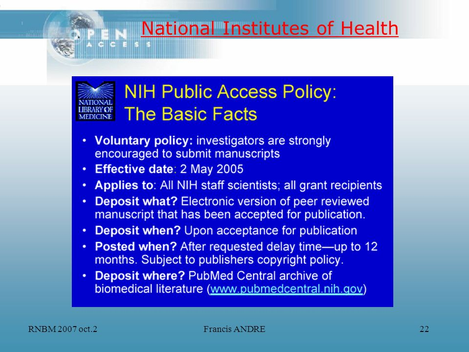 RNBM 2007 oct.2Francis ANDRE22 National Institutes of Health