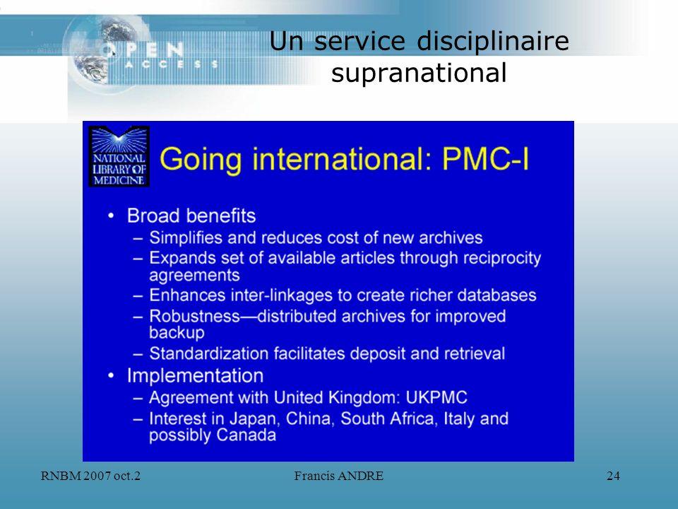 RNBM 2007 oct.2Francis ANDRE24 Un service disciplinaire supranational