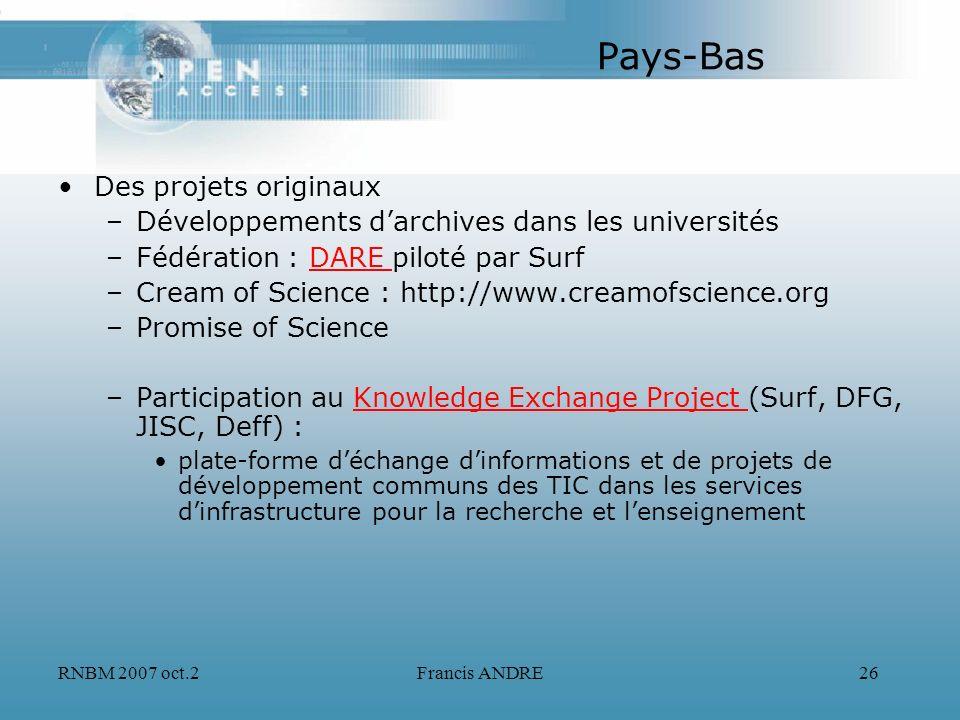 RNBM 2007 oct.2Francis ANDRE26 Pays-Bas Des projets originaux –Développements darchives dans les universités –Fédération : DARE piloté par SurfDARE –C