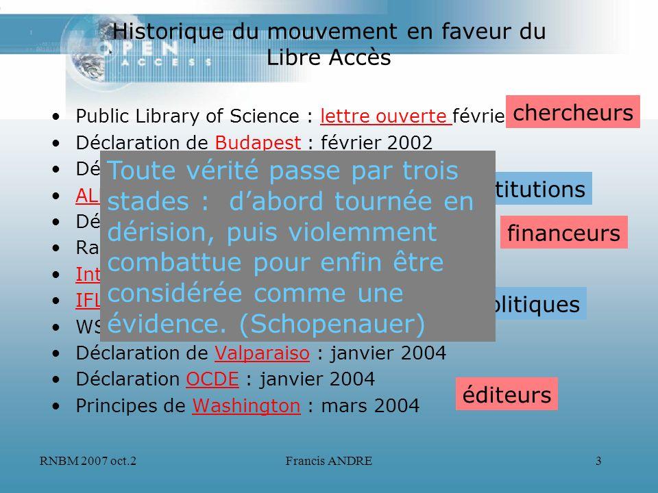 RNBM 2007 oct.2Francis ANDRE3 Historique du mouvement en faveur du Libre Accès Public Library of Science : lettre ouverte février 2001lettre ouverte D