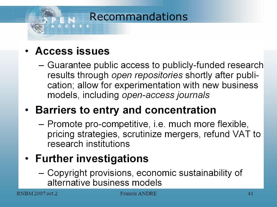 RNBM 2007 oct.2Francis ANDRE41 Recommandations