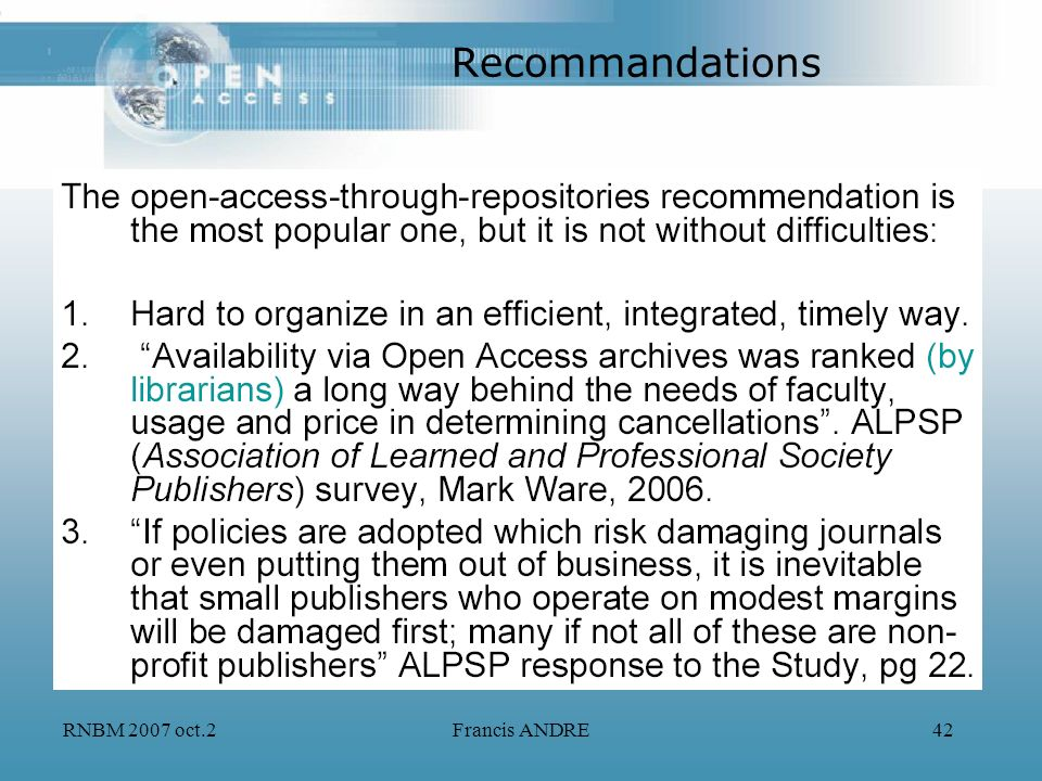 RNBM 2007 oct.2Francis ANDRE42 Recommandations