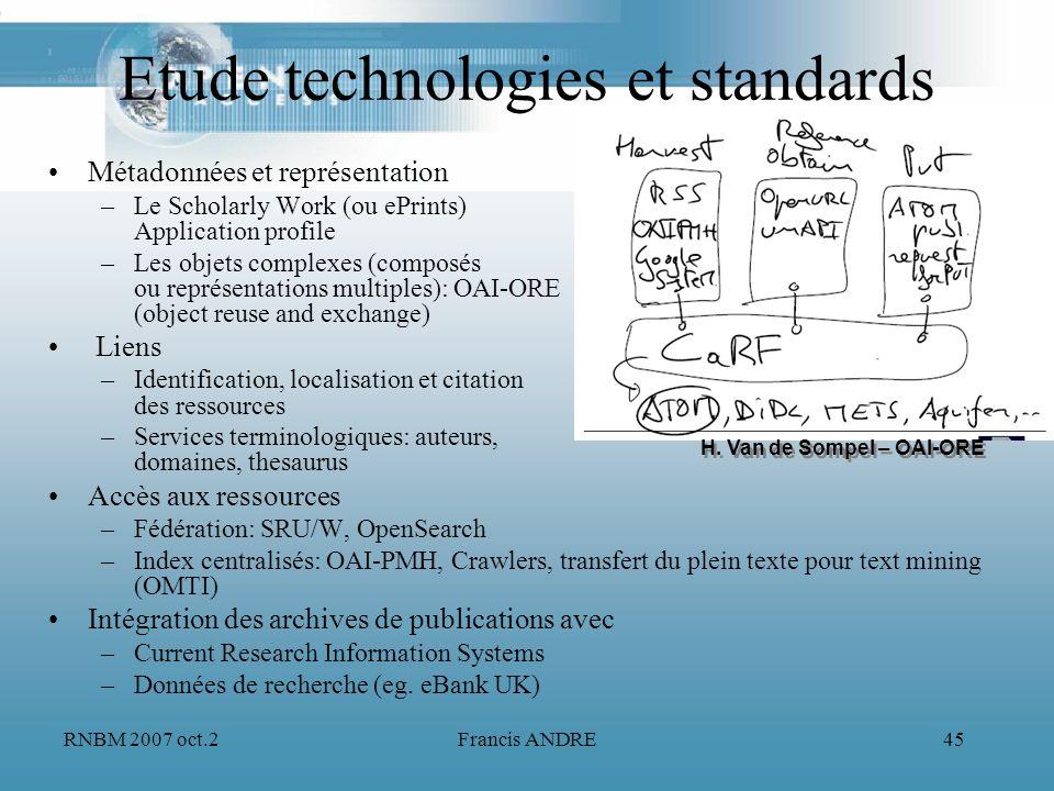 RNBM 2007 oct.2Francis ANDRE45 Etude technologies et standards Métadonnées et représentation –Le Scholarly Work (ou ePrints) Application profile –Les