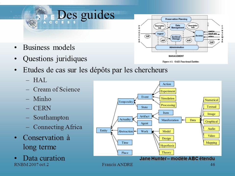 RNBM 2007 oct.2Francis ANDRE46 Des guides Business models Questions juridiques Etudes de cas sur les dépôts par les chercheurs –HAL –Cream of Science
