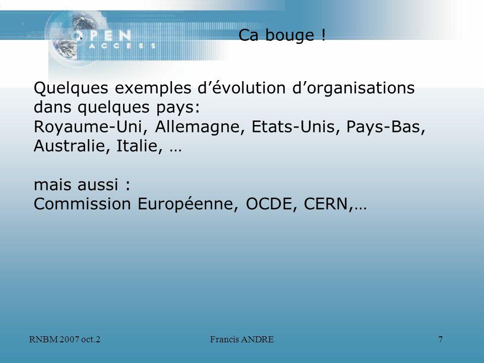 RNBM 2007 oct.2Francis ANDRE7 Quelques exemples dévolution dorganisations dans quelques pays: Royaume-Uni, Allemagne, Etats-Unis, Pays-Bas, Australie,