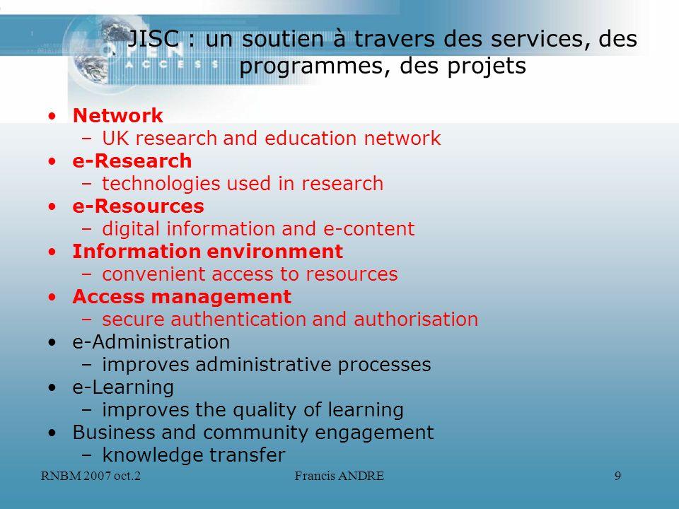 RNBM 2007 oct.2Francis ANDRE9 JISC : un soutien à travers des services, des programmes, des projets Network –UK research and education network e-Resea