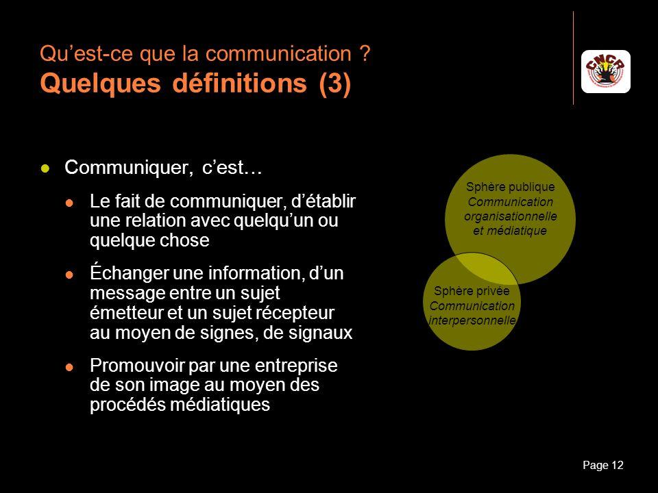 Janvier 2010Introduction à la communicationPage 12 Quest-ce que la communication ? Quelques définitions (3) Communiquer, cest… Le fait de communiquer,