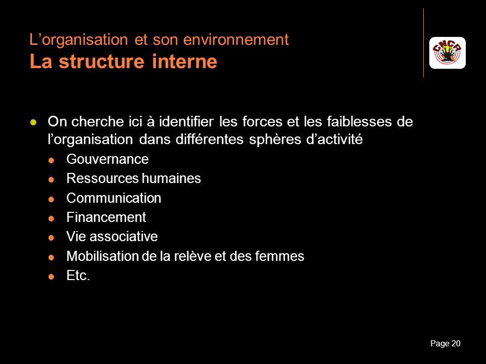 Janvier 2010Introduction à la communicationPage 20 Lorganisation et son environnement La structure interne On cherche ici à identifier les forces et l