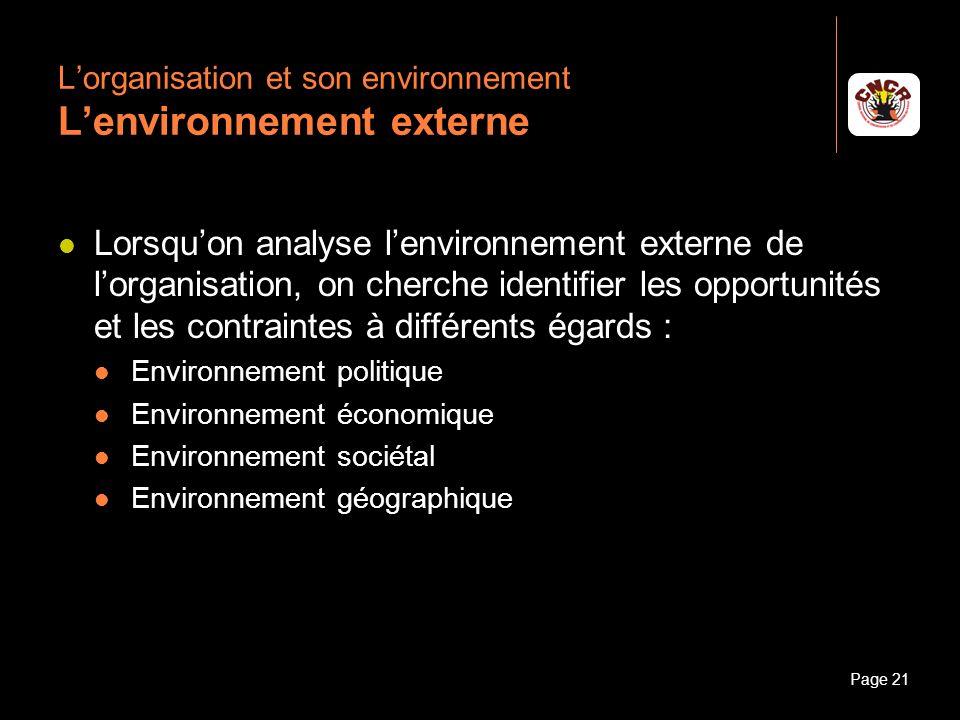 Janvier 2010Introduction à la communicationPage 21 Lorganisation et son environnement Lenvironnement externe Lorsquon analyse lenvironnement externe d
