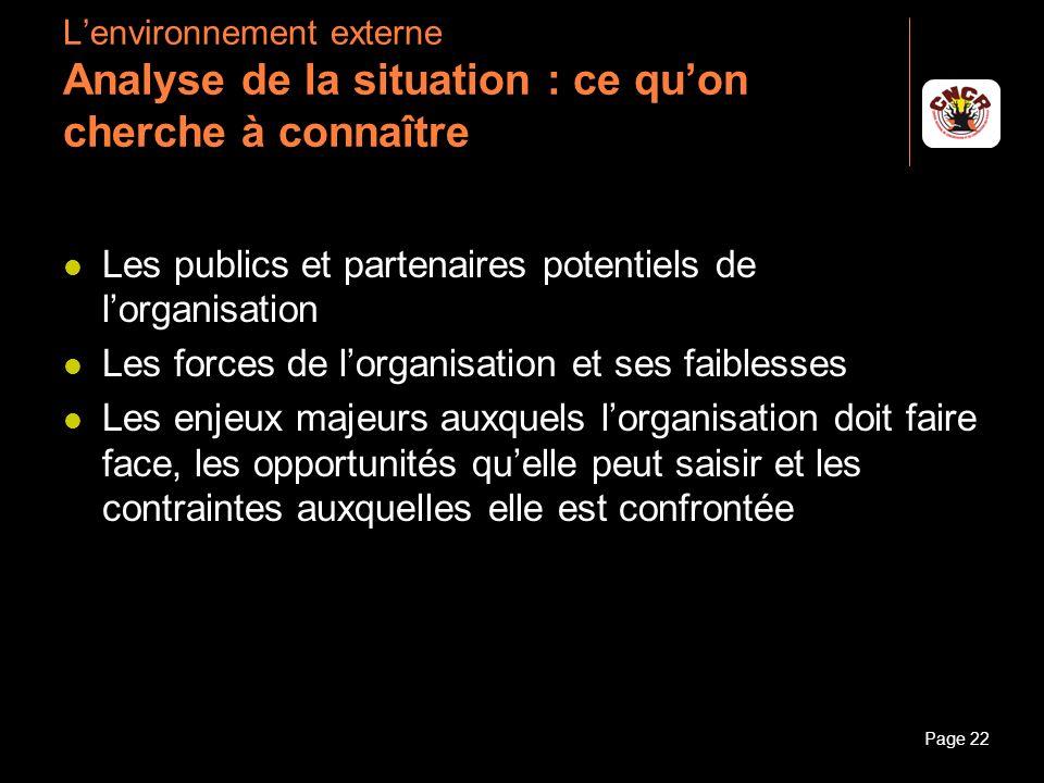 Janvier 2010Introduction à la communicationPage 22 Lenvironnement externe Analyse de la situation : ce quon cherche à connaître Les publics et partena