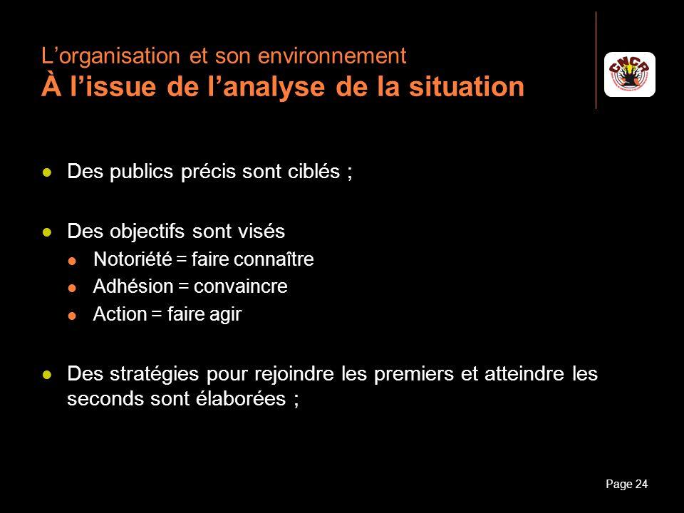 Janvier 2010Introduction à la communicationPage 24 Lorganisation et son environnement À lissue de lanalyse de la situation Des publics précis sont cib