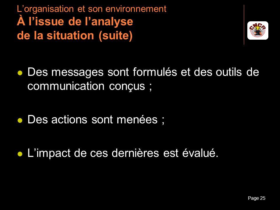 Janvier 2010Introduction à la communicationPage 25 Lorganisation et son environnement À lissue de lanalyse de la situation (suite) Des messages sont f