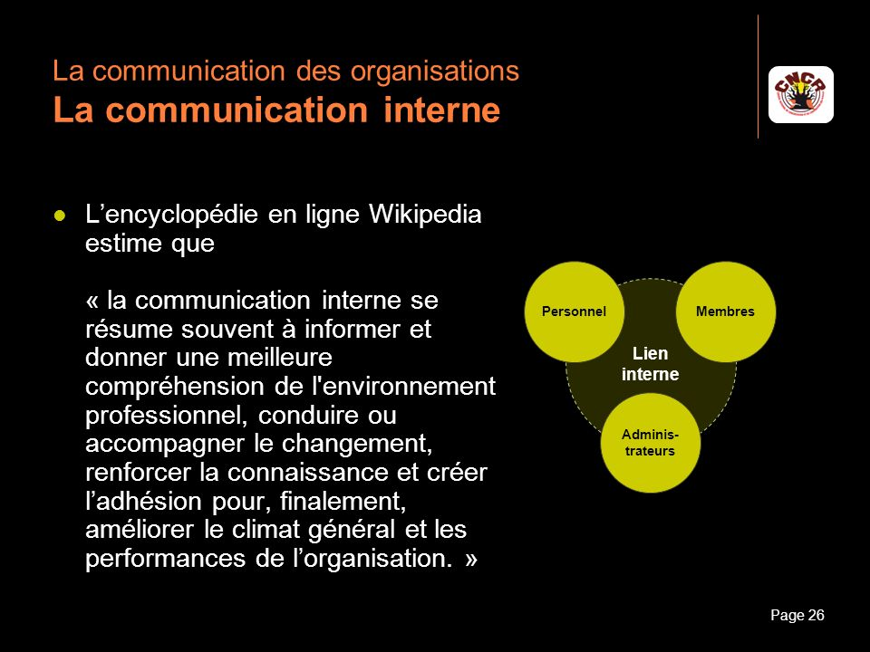 Janvier 2010Introduction à la communicationPage 26 La communication des organisations La communication interne Lencyclopédie en ligne Wikipedia estime