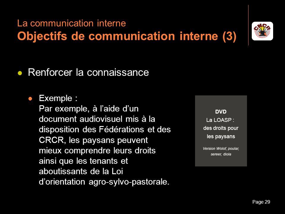 Janvier 2010Introduction à la communicationPage 29 La communication interne Objectifs de communication interne (3) Renforcer la connaissance Exemple :