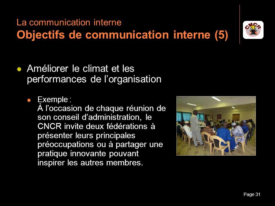Janvier 2010Introduction à la communicationPage 31 La communication interne Objectifs de communication interne (5) Améliorer le climat et les performa