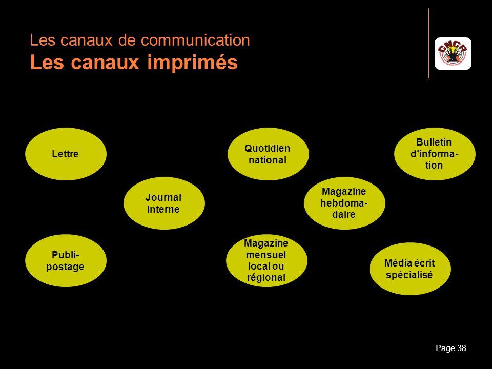 Janvier 2010Introduction à la communicationPage 38 Les canaux de communication Les canaux imprimés Lettre Publi- postage Journal interne Magazine hebd