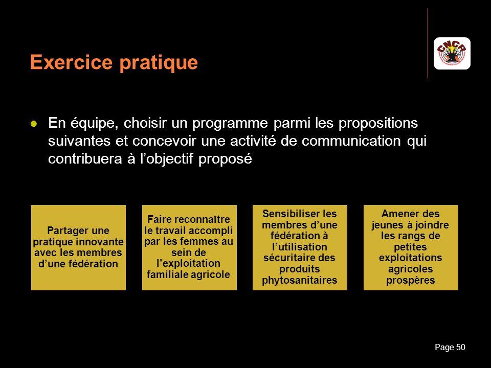 Janvier 2010Introduction à la communicationPage 50 Exercice pratique En équipe, choisir un programme parmi les propositions suivantes et concevoir une