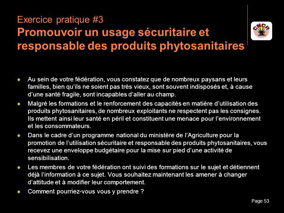 Janvier 2010Introduction à la communicationPage 53 Exercice pratique #3 Promouvoir un usage sécuritaire et responsable des produits phytosanitaires Au