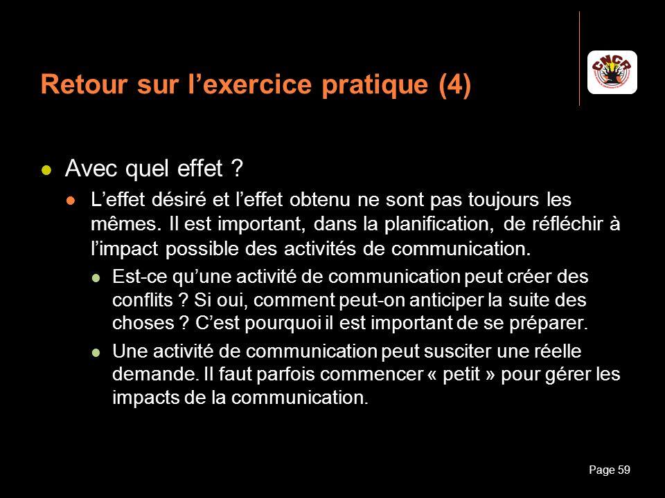 Janvier 2010Introduction à la communicationPage 59 Retour sur lexercice pratique (4) Avec quel effet ? Leffet désiré et leffet obtenu ne sont pas touj