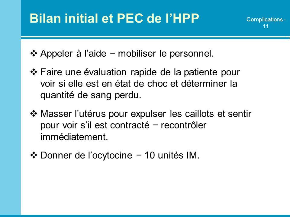 Bilan initial et PEC de lHPP Appeler à laide mobiliser le personnel. Faire une évaluation rapide de la patiente pour voir si elle est en état de choc