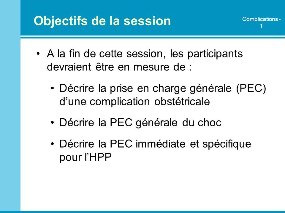 Objectifs de la session A la fin de cette session, les participants devraient être en mesure de : Décrire la prise en charge générale (PEC) dune compl