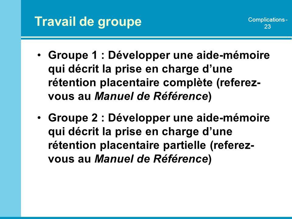Travail de groupe Groupe 1 : Développer une aide-mémoire qui décrit la prise en charge dune rétention placentaire complète (referez- vous au Manuel de
