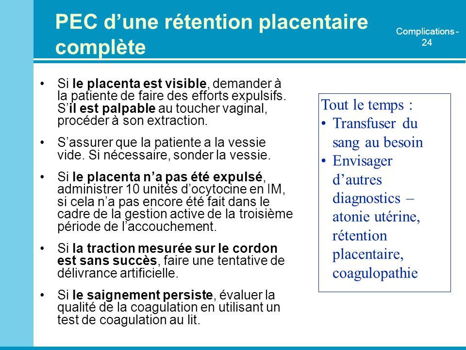 PEC dune rétention placentaire complète Si le placenta est visible, demander à la patiente de faire des efforts expulsifs. Sil est palpable au toucher