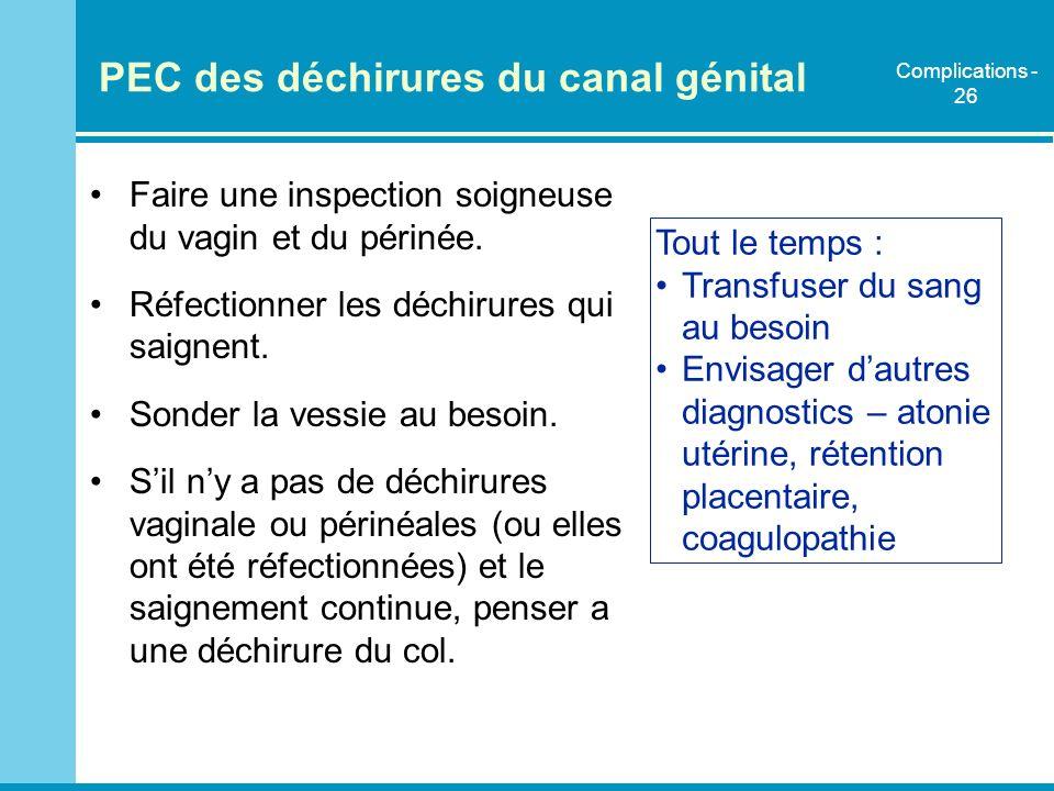 PEC des déchirures du canal génital Faire une inspection soigneuse du vagin et du périnée. Réfectionner les déchirures qui saignent. Sonder la vessie