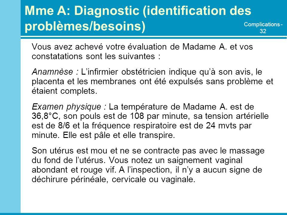 Mme A: Diagnostic (identification des problèmes/besoins) Vous avez achevé votre évaluation de Madame A. et vos constatations sont les suivantes : Anam