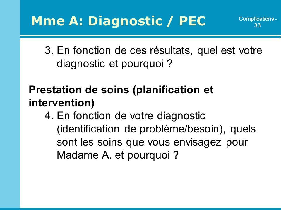 3. En fonction de ces résultats, quel est votre diagnostic et pourquoi ? Prestation de soins (planification et intervention) 4. En fonction de votre d