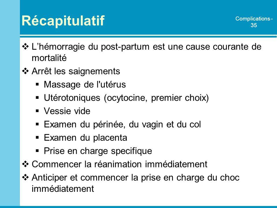 Récapitulatif Lhémorragie du post-partum est une cause courante de mortalité Arrêt les saignements Massage de l'utérus Utérotoniques (ocytocine, premi