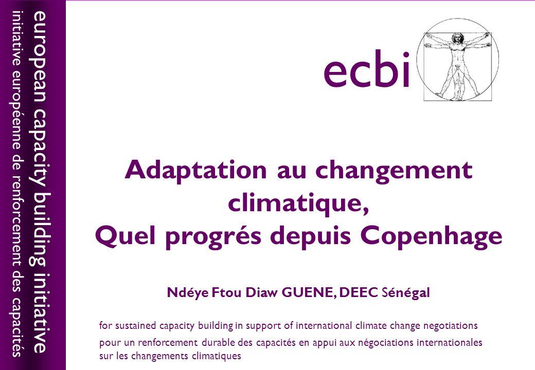 european capacity building initiativeecbi La frontière entre adaptation et développement est floue cest pourquoi, il doit être systématiquement intégrée dans les projets de développement et les politiques sectorielles.