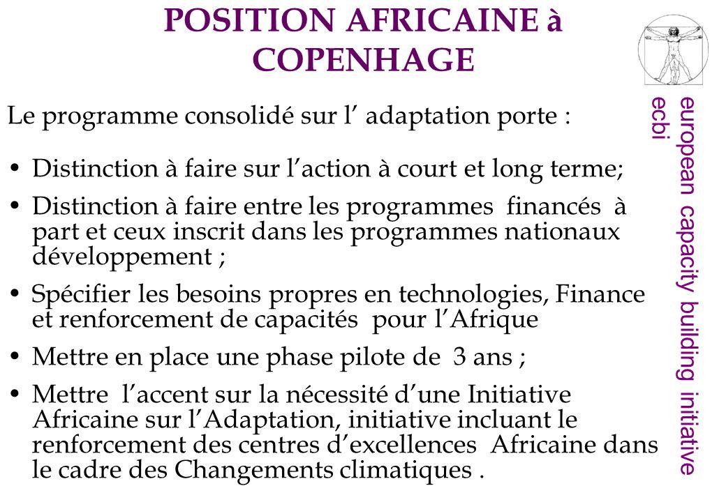 european capacity building initiativeecbi mis en place dun « Cadre sur dAdaptation ».