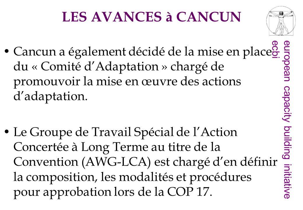 european capacity building initiativeecbi La troisième décision sur ladaptation contenue dans laccord de Cancun porte sur létablissement «dun programme de travail ».